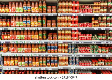 BUCHAREST, ROMANIA - MAY 08: Ketchup Tomato Sauce Bottles On Supermarket Shelf on May 08, 2014 in Bucharest, Romania.