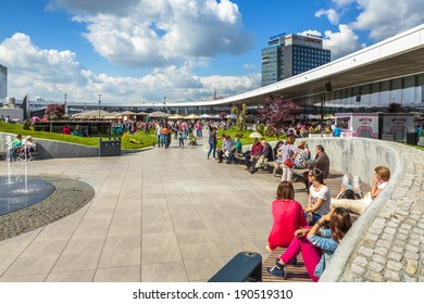 BUCHAREST, ROMANIA - MAY 1: Unidentified people enjoy at recreation area in Promenada Mall on May 1, 2014 in Bucharest, Romania. The mall received Building of the Year SEE 2014 at CEEQA Gala, Warsaw.