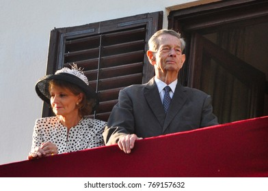 Bucharest, Romania - May 10, 2012: King Michael of Romania with crown Princess Margareta during one of his last public appearance in Bucharest.