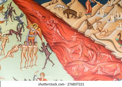 BUCHAREST , ROMANIA - MAY 10, 2015: Heaven Versus Hell Biblical Scene Painting In The Orthodox Church Of The New Saint George.
