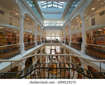 Bucharest / Romania, May 14, 2018: People shopping in Carturesti Bookstore, considered the most beautiful bookshop in Bucharest