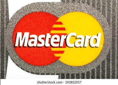 BUCHAREST, ROMANIA - MAY 15, 2014: Mastercard Credit Card Sign Close Up. Throughout the world, its principal business is to process payments between the banks of merchants and the card issuing banks.