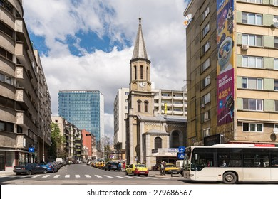 BUCHAREST, ROMANIA - MAY 17, 2015: Rush Hour Traffic In Downtown Of Bucharest City.