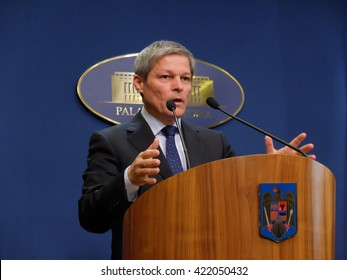 BUCHAREST, ROMANIA - May 17, 2016: Romanian Prime Minister Dacian Ciolos speaks during a press conference announcing new salaries for the public healthcare system.