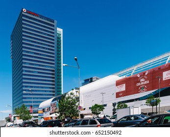 BUCHAREST, ROMANIA - MAY 18, 2017: Modern Office Building And Shopping Mall In North District Of Bucharest City
