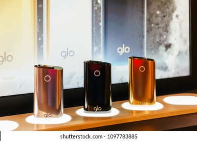 BUCHAREST, ROMANIA - MAY 18, 2018: GLO Battery Powered Tobacco Stick Is A Heat Not Burn Product Launched By British American Tobacco In 2016