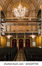 Bucharest, Romania, May 2, 2016: Interior of the Choral Temple synagogue. It is a copy of Vienna's Leopoldstadt-Tempelgasse Great Synagogue, which was raised in 1855-1858.