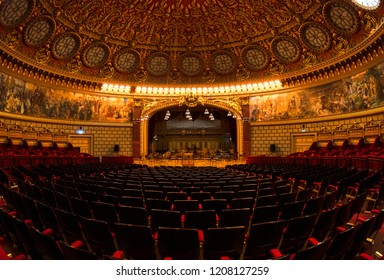 BUCHAREST, ROMANIA - MAY 2, 2017: Interior of Romanian Athenaeum George Enescu (Ateneul Roman) opened in 1888 is a concert hall in the center of Bucharest and a landmark of the Romanian capital city.