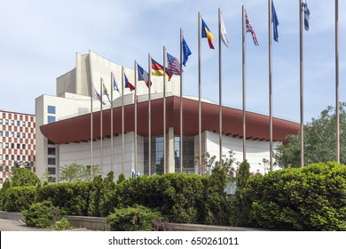 Bucharest, Romania - May 2, 2017: Building of National Theater Bucharest. The current National Theatre is located just south of the Hotel Intercontinental at University Square, built in 1973.