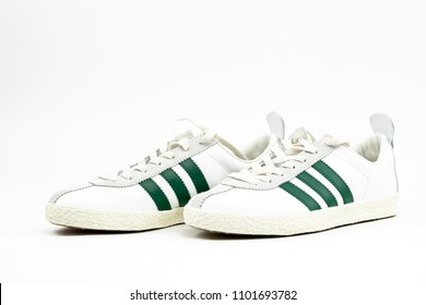 Bucharest, Romania: May 2018: Image of sneakers adidas originals by Spezial Isolated on white background. Adidas is a German sports apparel manufacturer and parent company of the Adidas Group.