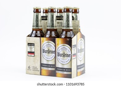 Bucharest, Romania: May 2018: Photo of Warsteiner Premium beer, product of Germany's largest privately owned brewery which ranks number 4 among best selling breweries in the country.