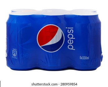 BUCHAREST, ROMANIA - MAY 24, 2015. Pack of six cans of Pepsi produced and owned by PepsiCo.