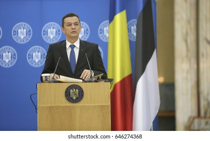 BUCHAREST, ROMANIA  - May 24, 2017:  Romanian Prime Minister Sorin Grindeanu speaks during the joint press conference with Estonian Prime Minister Juri Ratas at Romanian Govern Headquarter.