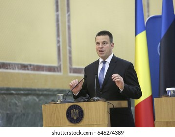 BUCHAREST, ROMANIA  - May 24, 2017:  Estonian Prime Minister Juri Ratas speaks during the joint press conference with Romanian Prime Minister Sorin Grindeanu at Romanian Govern Headquarter.