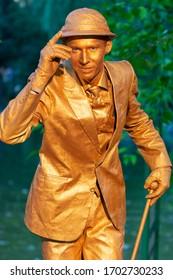 Bucharest, Romania - May 24,2018, Mr. Showtime, Living Statues, Artel MYTH Ukraine, Street Theater Festival, Cismigiu Park