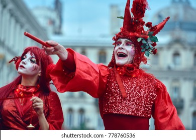 Bucharest, Romania - May 29, 2014: The Red Hearts show of the performers from the Mademoiselle Paillette Company during the B-Fit International Street Theater Festival in the historic center.