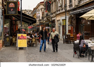 BUCHAREST, ROMANIA - MAY 29, 2017: Restaurant in Bucharest, the capital and largest city of Romania