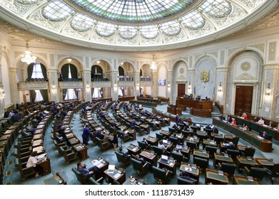 Bucharest, Romania - May 29, 2018: The Senators attend the proceedings of the Senate of Romania at the Parliament Palace, in Bucharest, Romania.