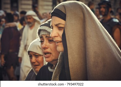 Bucharest, Romania - May 3, 2013: Romanian actress portrays grieving Virgin Mary during the Stations of the Cross reenactment.
