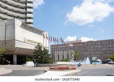 Bucharest, Romania - May 30, 2019: InterContinental hotel, a high rise five star hotel 77 m tall and with 25 floors containing 283 guest rooms, operated by InterContinental Hotels Group.