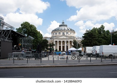 Bucharest, Romania - May 30, 2019: Preparations for the International Summer Magic Festival, dedicated to the 560 years of documentary attestation of Bucharest and 360 years since it became capital.