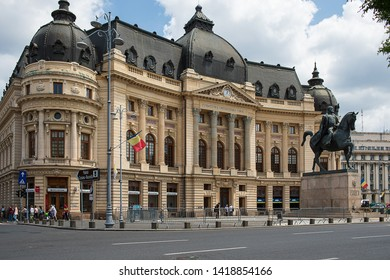 Bucharest, Romania - May 30, 2019: The Central University Library founded in 1895 as the Carol I Library of the University Foundation, built on land bought by King Carol I of Romania.