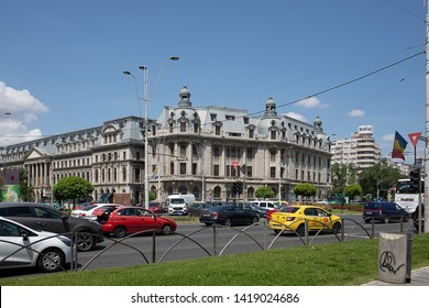 Bucharest, Romania - May 30, 2019: Day traffic at University Square downtown Bucharest.
