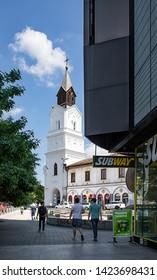 Bucharest, Romania - May 30, 2019: Baratia church, one of the Roman Catholic churches located in central Bucharest, on the I. C. Bratianu Blvd, next to Piata Unirii.