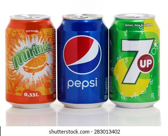 BUCHAREST, ROMANIA - MAY 31, 2015. Can of Pepsi, Mirinda and 7up. These carbonated soft drink are produced and manufactured by PepsiCo and are the flagship products of this company.