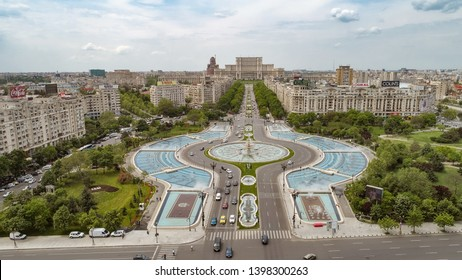 Bucharest, Romania - May 4th 2019: Aerial view of the city of Bucharest