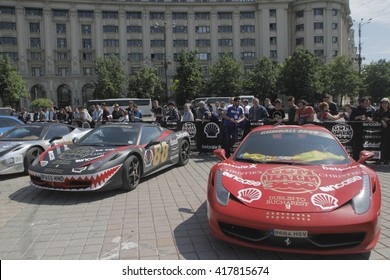 Bucharest, Romania, May 7, 2016: Super cars participating at the exclusivist rally Gumball 3000 from Dublin to Bucharest are presented in front of Romanian Parliament.