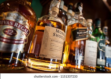 Bucharest Romania - May 8, 2018: Various bottles of alcohol are displayed in bar in Bucharest, Romania.