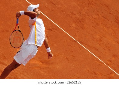 BUCHAREST, ROMANIA MAY 8: Romania's Horia Tecau serves the ball during the Davis Cup meeting between Romania and Ukraine at the BNR Arenas on May 8, 2010 in Bucharest, Romania.