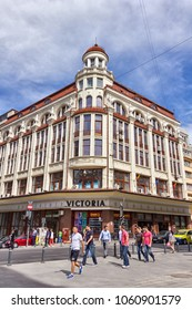 BUCHAREST, ROMANIA - MAY 9, 2013: Old Victoria commercial building in Bucharest city center in spring