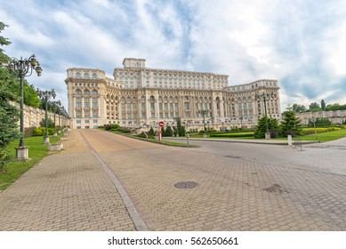 Bucharest, Romania - May20, 2016: Side view of The Palace of the Parliament in Bucharest widely known as People's House, second-largest administrative building in the world