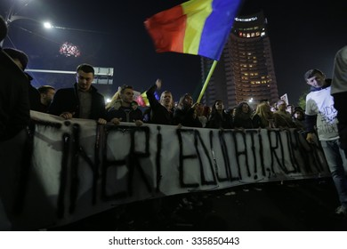 BUCHAREST, ROMANIA - NOVEMBER 05, 2015: Third Day Of Protest In University Square And In Front Of National Theater Against Corruption And Romanian Government.