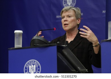 BUCHAREST, ROMANIA  - November 07, 2016: NATO Deputy Secretary General Rose Gottemoeller speaks at the joint press conference with Foreign Minister of Romania, Lazar Comanescu.