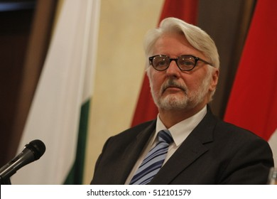 BUCHAREST, ROMANIA  - November 08, 2016: Polish Foreign Minister Witold Waszczykowski speaks at the end of Meeting of Foreign Ministers of States of Central and Eastern Europe (Bucharest's format).