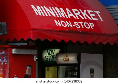 Bucharest, Romania - November 15, 2018: A 24-hour minimarket store is seen on a street in downtown Bucharest. This image is for editorial use only.