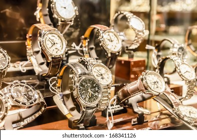 BUCHAREST, ROMANIA - NOVEMBER 16, 2012: Longines Watches In Shop Window Display. Founded in 1832 It is a luxury watches house based in Switzerland, its logo is the oldest registered for a watchmaker.
