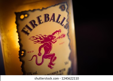 Bucharest, Romania - November 16, 2018: Illustrative-editorial close up shot of the label on a bottle of Fireball whisky in Bucharest, Romania.