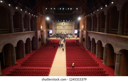 Bucharest, Romania - November 25, 2018: Consecration ceremony of Romania National Cathedral (Romanian People's Salvation Cathedral) by Patriarchs of Constantinople, in Bucharest.
