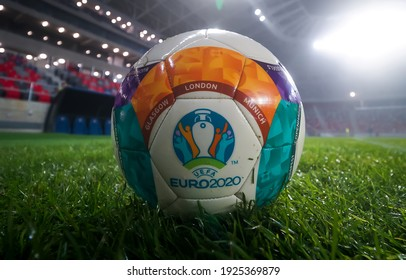 Bucharest, Romania - November 27, 2020: UEFA EURO 2020 ball on the new Steaua Stadium open for a press event on the day of the reception by the Romanian Premier. Image for editorial use only.