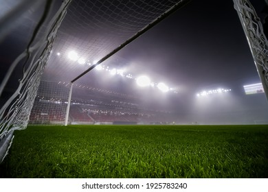 Bucharest, Romania - November 27, 2020: The new Steaua Stadium (selective focus) is open for a press event on the day. Image for editorial use only