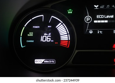 BUCHAREST, ROMANIA - NOVEMBER 28, 2014: Dashboard of Kia Soul EV electric system in Bucharest, Romania. Kia is South Korea's second-largest automobile manufacturer.