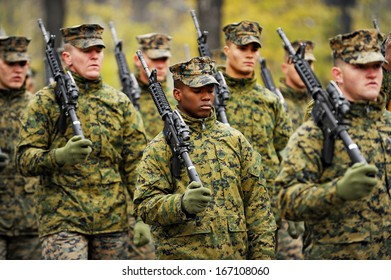 Bucharest, Romania - November 29, 2013: American soldiers march during the rehearsal for the Romania's National Day military parade on November 29, 2013 in Bucharest.