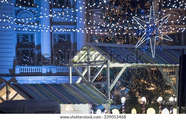 Bucharest, Romania -?? November 30, 2014: Christmas Market at the University Square, in Bucharest downtown.
