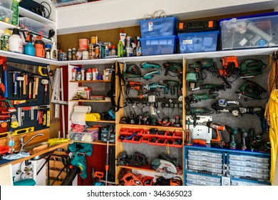BUCHAREST, ROMANIA - NOVEMBER 30, 2015: Assortment Of Tools In Tool Shed Workshop.