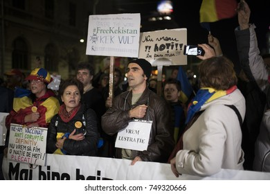 Bucharest, Romania - November 5, 2017: Thousands of Romanians protest in Bucharest and across the country against plans by the ruling Social Democrats to overhaul judicial legislation.