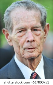 BUCHAREST, ROMANIA - NOVEMBER 8, 2013: King Michael of Romania attends a garden party on November 8, 2013 in Bucharest.